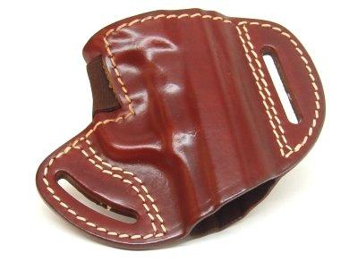3e9fe87ab3 fondina a fascia, ritenzione dell arma tramite elastico rinforzato,  estrazione a strappo. sformata in cuoio ingrassato marrone o nero. prodotta  per: b .