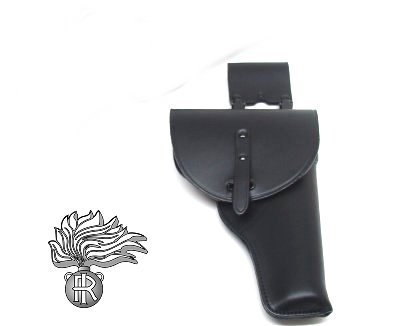 54f57aadd4 fondina in cuoio con doppio moschettone staccabile e passante per  cinturone, anima in acciaio interno e pelle nella sede della punta della  canna della .